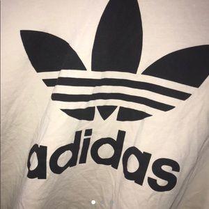 Cream and Black Logo Adidas Top